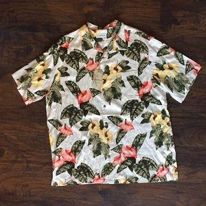 Caribbean NEW 2XT Silk Floral Button Down Shirt